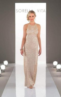 Sorella Vita - A modern, high neckline complements a stunning, artful pattern in this Nouveau Sequin bridesmaid dress. A long column skirt is flattering and falls at the natural waist, making this gown refined, yet trend-worthy. Sorella Vita Bridesmaid Dresses, Sequin Bridesmaid Dresses, Wedding Bridesmaids, Bridal Dresses, Wedding Gowns, Wedding Venues, 20s Wedding, Dream Wedding, Party Gowns