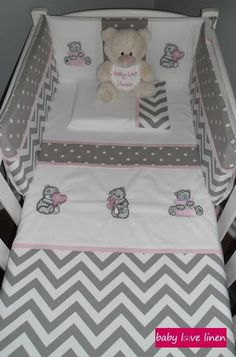 Tatty Teddy baby linen set in grey/white chevron and polka dot combination with pink accents.