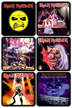 Iron Maiden Album Covers | Iron Maiden #1 - Album Cover Art (6) Magnet Set - Entertainment ...