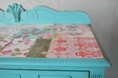 blue and decoupage