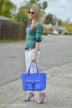 Sweater and button down shirt outfit | Heels and denim for fall. Click through for details.