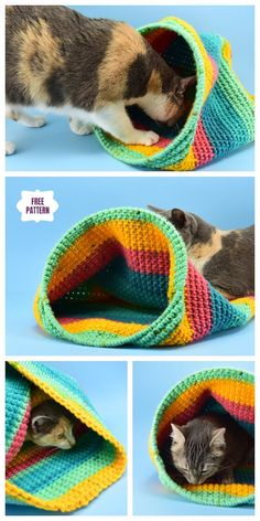 Crochet Cat Sack Hideaway Free Crochet Pattern Diy Crochet Cat Bed, Crochet Cat Pattern, Granny Square Crochet Pattern, Crochet Motif, Crochet Yarn, Free Crochet, Knit Patterns, Free Pattern, Applique Stitches