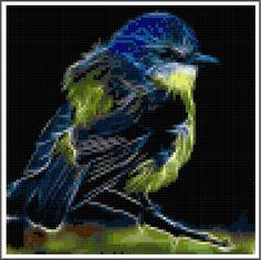 Fractal Blue and Yellow Bird Cross Stitch Printable Needlework Pattern - DIY Crossstitch Chart, Pretty Bird, Instant Download PDF Design