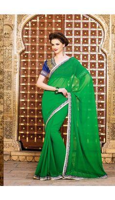 Green Georgette Saree with Blue Dupion Silk Blouse - DMV7330