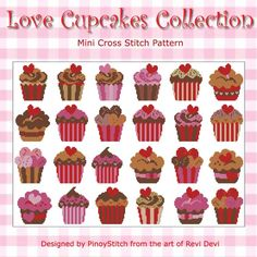 Love cupcakes? Here is a gigantic collection of cross stitch cupcakes in chocolate, pink and red. Stitch as a sampler or create your own cupcake theme project.      Mini Cross Stitch Pattern: Love Cupcakes Gigantic Collection     Design Source: ReviDevi