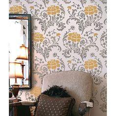 Julia Allover Stencil Pattern - Reusable stencils just like wallpaper. $52.95, via Etsy.