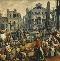 Joachim Beuckelaer : Market Scene, Ecce Homo, the Flagellation and the Carrying of the Cross (Nationalmuseum - Stockholm (Sweden - Stockholm)) ヨアヒム・ブーケラール A4 Poster, Poster Prints, Flagellation, Renaissance, Fine Art Prints, Canvas Prints, Dutch Painters, Old Paintings, Canvas Paper