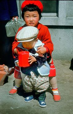 Sister and brother, Chitose, Hokkaido, Japan, 1953-54, photograph by Ralph Rennie.