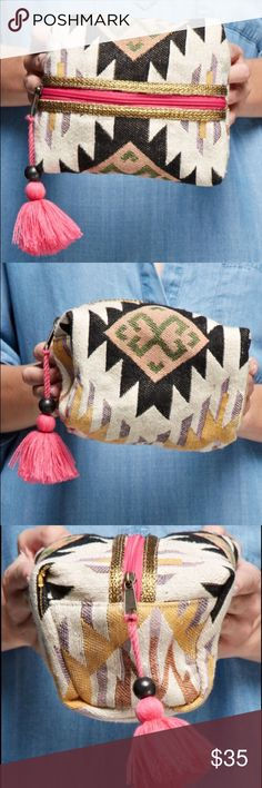 Aztec Inspired Woven Origami Bag With Tassel Zip Brand new! Super cute! 15% off of bundles! FEEL LIKE MAKING AN OFFER? Please do it through the make an offer feature as I will no longer negotiate prices in the comments section. PRICE IS FINAL ON ITEMS $15 or less unless bundled. - Bags