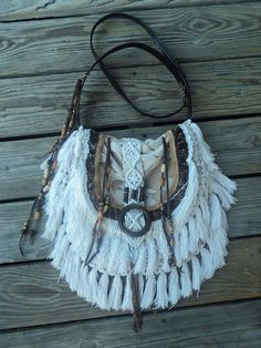 Handmade Cross Body Boho Bag Gypsy Purse Hippie Beaded Fringe Western tmyers #Handmade #MessengerCrossBody