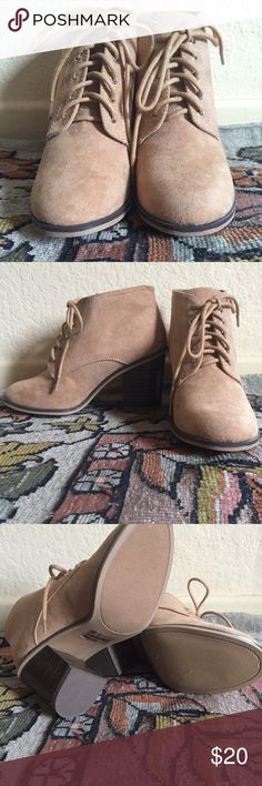 Tan Ankle Boots Faux leather ankle boots with lace up and faux wood heel. Never worn! Brand new! Qupid Shoes Ankle Boots & Booties