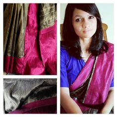 Bhang - Black and ivory striped tussar silk sari with deep magenta raw silk border and pallu.: Pinned by Sujayita