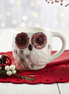 Hand painted owl mug Pinned by www.myowlbarn.com