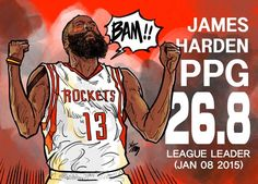Your artistic reminder that Houston Rockets swingman and fantastic beard owner James Harden is currently leading the league in points per game average. Basketball Art, College Basketball, Basketball Players, Rick I Morty, Sports Page, Nba Draft, James Harden, Basket Ball