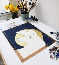 Lunar collection, work in progress.  The background has taken me 2 days to get right, working in watercolour and mixed medium can be very difficult to produce simple flat tones. I'm also working on commissions behind the scenes 🤗. I've been working on adding in the colour today, I can't wait to show you the finished piece 🙏 . . . . . .  #contemporaryart #artgallerynyc #modernanimalart #art #emergingart #nature #watercolour #homedecor #london #nature  #wallart #londonartgalleries #galleries… Chloe Brown, London Art, Contemporary Artwork, Pet Portraits, Galleries, Watercolour, Original Artwork, Art Gallery, Kids Rugs