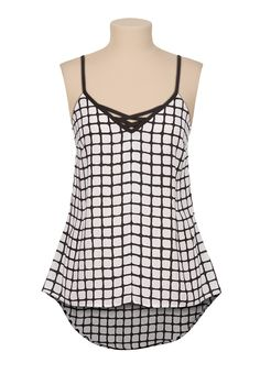 High-low lattice front chiffon tank