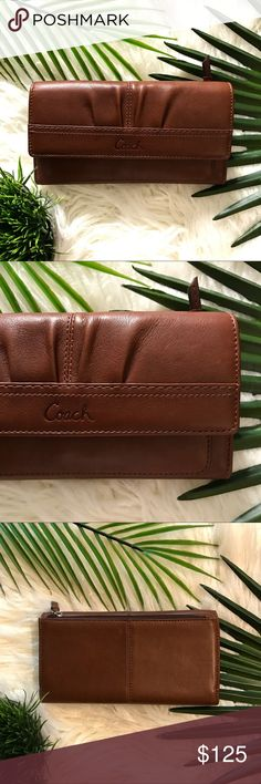 Coach Continental Tri fold Brown Tan Wallet Coach Multifunction Wallet in Brown Tan Color. 12 credit card slot and multiple bill slip pockets. Back zipper coin slot. Brand new with Tags. Authentic. Coach Bags Wallets
