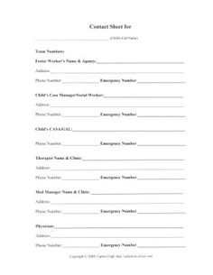 Foster Care Printable Worksheets: Foster Care Contact Information Printable Worksheet