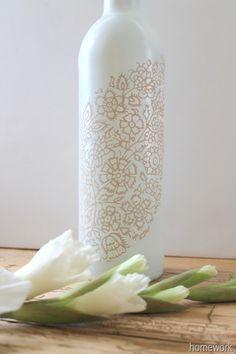 Lace Stenciled Bottle via homework
