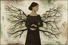 Piia Lehti: Maailma käsissä / World In The Hands, 2016 Modern Art, Contemporary Art, Illustration Artists, Illustrations, Tree Of Life, Mother Earth, Female Art, Finland, Printmaking