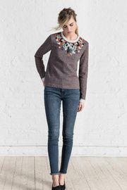 Embroidered Neck Swe