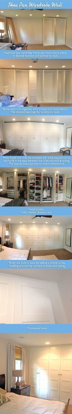 The Ranch We Love: Ikea Pax Wardrobe Wall  Brief step-by-step on how we created a built-in looking closet with the ikea pax!