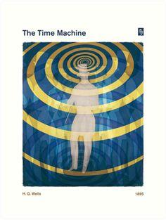 The Time Machine - H. G. Wells Art Print by RedHillPrints at Redbubble | Literary Book Cover Print, Steampunk Decor, Sci Fi Art