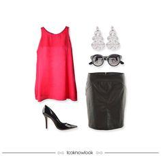 Regata pink + Saia lápis de couro + Brinco prateado + Óculos escuros + Scarpin envernizado #moda #look #outfit #desconto #blackfriday #promoção #bobstore #artsy #ellusdeluxe #ecommerce #lojaonline #lnl #looknowlook