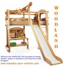 lit Mezzanine évolutif et modulable pour enfants. Lit toboggan. Découvrez toute la gamme de meubles WOODLAND ainsi que leurs accessoires de jeu ludiques sur: www.meubles-pour-enfants.com