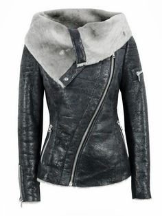 Long Sleeves Open Face Leather Jacket