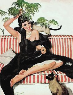 Buell, Al (b,1910)- Cats- 'Today's Woman' mag- Aug. 1953