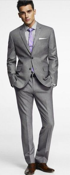 purple tie, grey suit, brown shoes | Suit | Pinterest | Grey suit