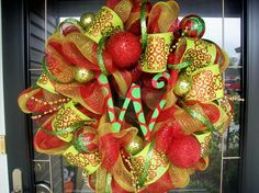 Ultra Christmas Mesh Wreath with letter of by lilmaddydesigns
