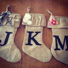 Burlap Stockings - use the Cricut to make those XL initials.