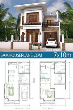 Home Plan Meter 4 Bedrooms - Sam House Plans 2 Storey House Design, Duplex House Design, Duplex House Plans, New House Plans, 2bhk House Plan, House Floor Plans, Modern Small House Design, Simple House Design, Minimalist House Design