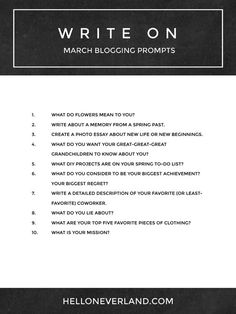 Blogging, writing, or journaling prompts for March from Hello Neverland