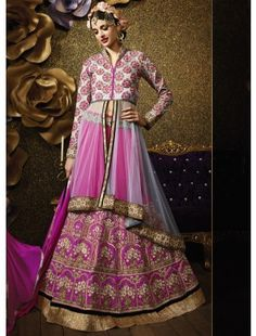 Pink & Grey Long Choli Lehenga