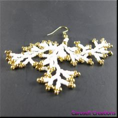 Coraling Beadwork Dangle Chandelier Seed Bead Earrings in White and Gold TAGS -  Earrings, Beaded, carosell creations, glass beads, ocean, jewelry, seed bead earring, beadwork, beaded, seed beaded, handmade, coral, earrings, aquatic, white, gold, etsy, handmade, women, ladies, fashion, accessories
