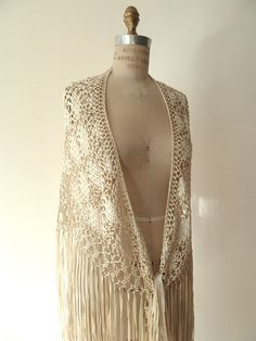 Macrame Silk Hand Knotted Triangle Shawl Ivory or Black by IMPERIO jp