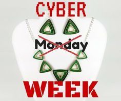 Cyber Week 2015 continues with this fresh jewelry set, perfect for work or date night! #cyberweek #cybershopping #cyberweek2015 #greenjewelry #greennecklace #uniquejewelry #jewelrygifts #giftsforher #papergoods #papergift #bibnecklace #collarnecklace #ecofriendlyjewelry #ecofriendlygift #greengift