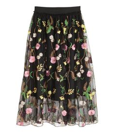 Mesh skirt with embroidery | Black/Floral | LADIES | H&M ID