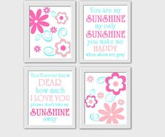 ** CUSTOMIZE THE COLORS TO MATCH YOUR DECOR**    SET OF 4 PRINTS - HOT PINK - PINK AND AQUA. These prints would make a great addition to any Baby