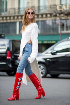 "fashion-boots: "" Chiara Ferragni in Stella McCartney sweater, Paris Fashion Week Street Style spring 2016 """