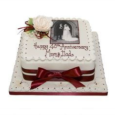 Personalised Ruby Wedding Anniversary Cake ...