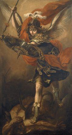 """""""San Miguel Arcángel"""", óleo sobre lienzo, 205 x 109 cm, Madrid, Museo del Prado, 1656."""
