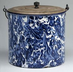 Graniteware Blue & White Pail with Lid.
