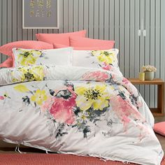 A fresh, summery feel is provided with Shauna from Lorraine Lea, a gorgeous quilt cover set that features a watercolour floral print in soft shades of coral, yellow and grey.