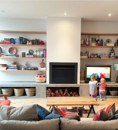 Open plan fire place with shelves Living Room 2017, Living Area, Living Spaces, Family Room Walls, Melbourne House, Living Room Inspiration, Style Inspiration, Cozy House, Home Renovation