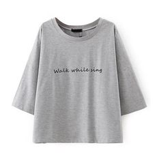 LUCLUC Grey Letter Printed Short Sleeve T-Shirt ($20) ❤ liked on Polyvore featuring tops, t-shirts, lucluc, shirts, short sleeve tees, letter shirts, gray tee, t shirts and short sleeve tops