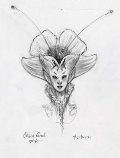 Tony DiTerlizzi, Never Abandon Imagination – Sketchbook Gallery, Orchid faced sprite Fairy Drawings, Art Drawings Sketches, Fantasy Drawings, Kunst Inspo, Art Inspo, Mythical Creatures Art, Magical Creatures, Arte Peculiar, Character Art